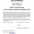 Business Subsidy Criteria Public Hearing Notice